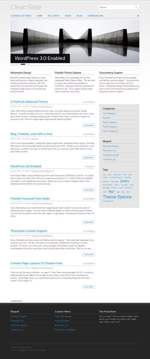 ThemeJam Clean Slate Premium WordPress Theme Best WordPress Themes