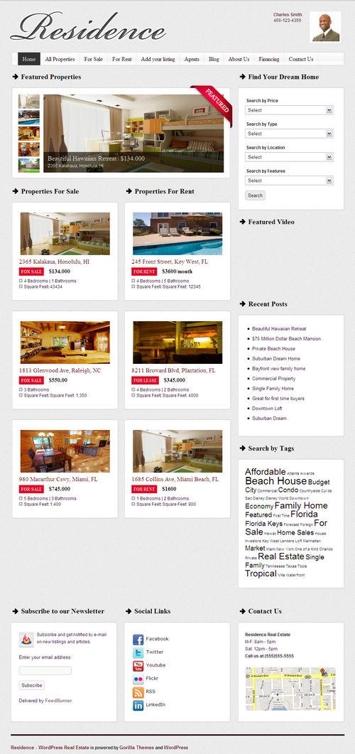 Residence Real Estate WordPress Theme Screenshot