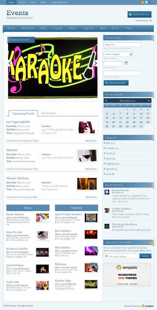 Events Premium WordPress Theme