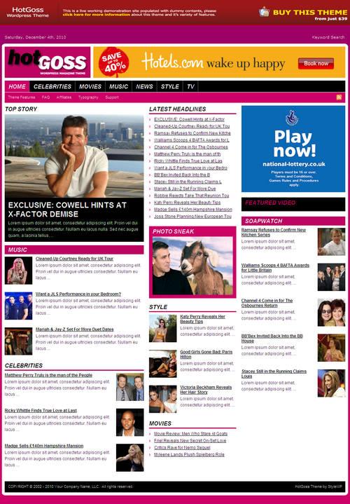 HotGoss Magazine WordPress Theme
