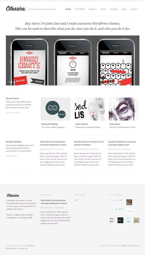 Classica Minimalistic WordPress Portfolio Theme