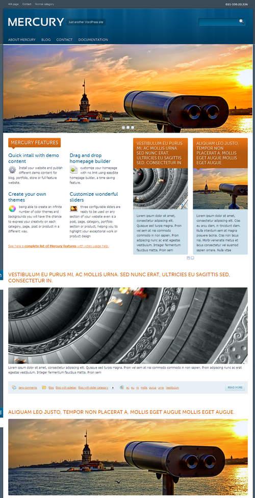 Mercury WordPress Theme Blog Layout