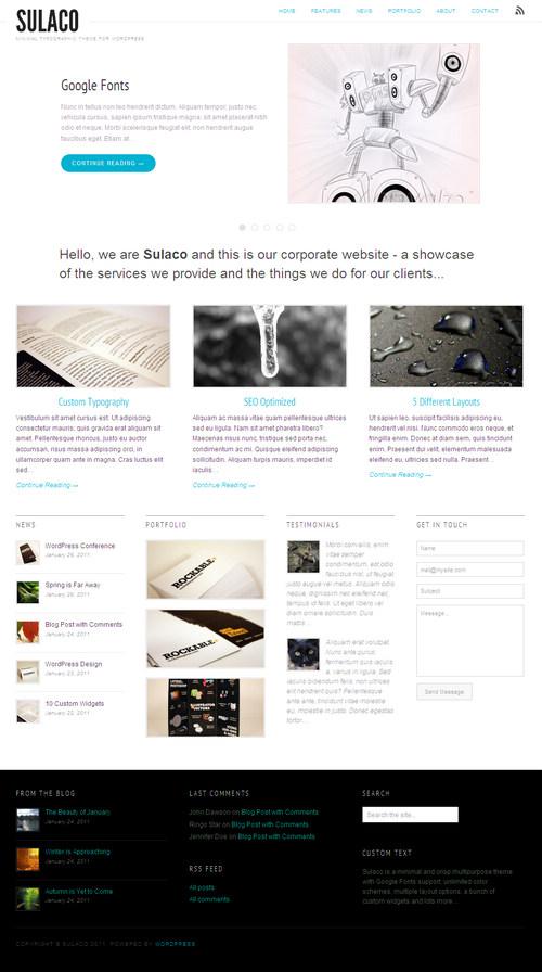 Sulaco Minimal Typographic WordPress Theme