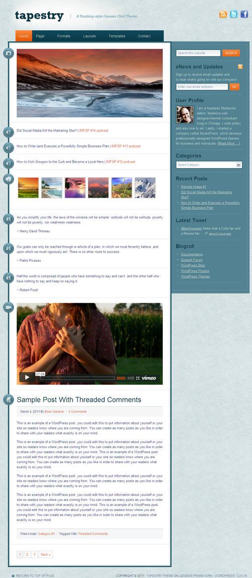 Tapestry 1.0 Genesis WordPress Child Theme
