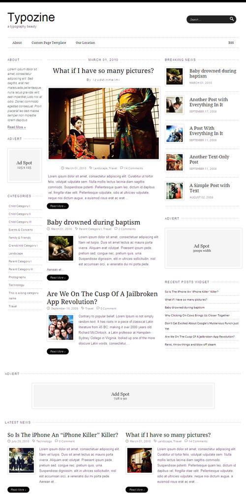 Typozine Premium Magazine WordPress Theme
