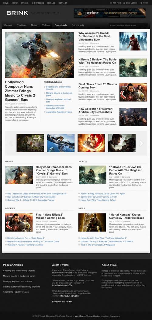 Brink Game Magazine WordPress Theme
