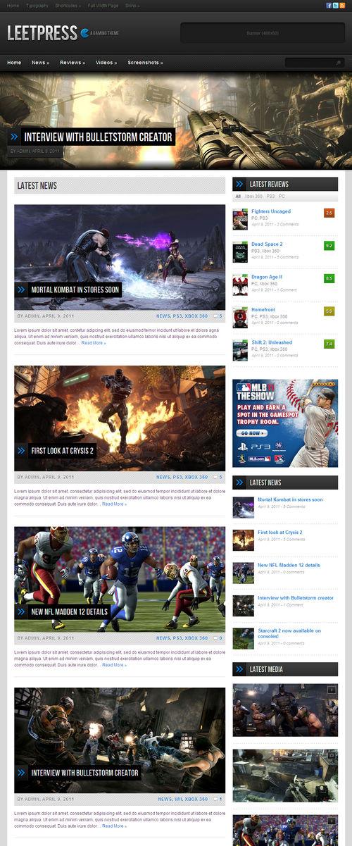 LeetPress Game Video WordPress Theme