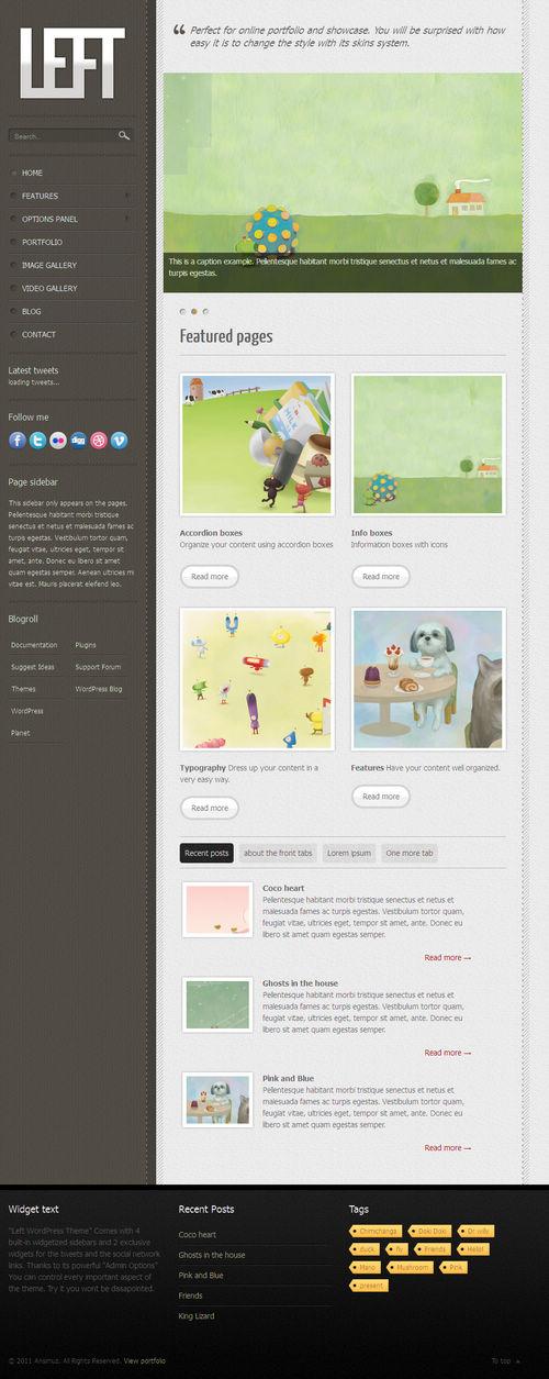 Left Portfolio Blog WordPress Theme