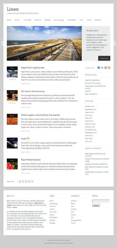 Linen Magazine-Style WordPress Theme