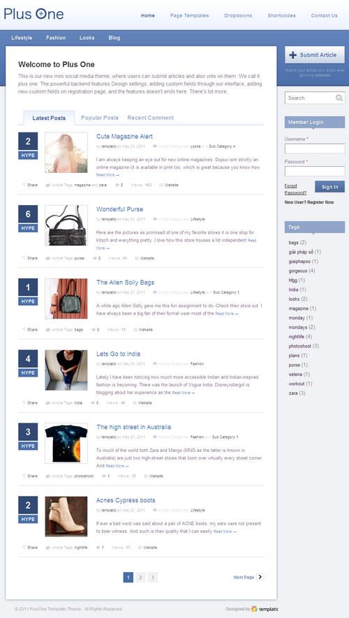 PlusOne Social Media WordPress Theme