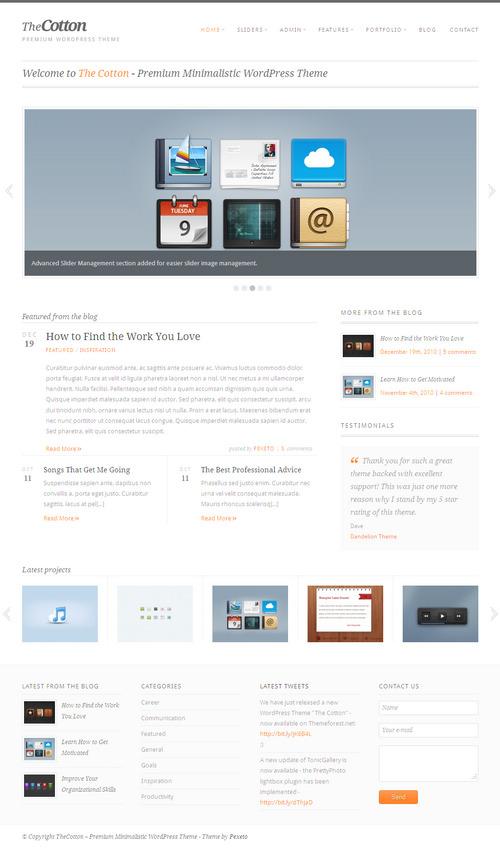 The Cotton Premium Minimalistic WordPress Theme