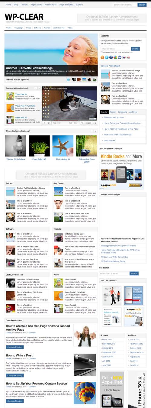 wp-clear 2.0 theme: magazine layout