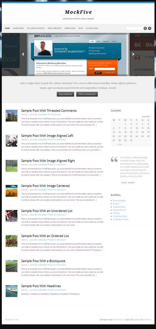 MockFive WordPress Theme