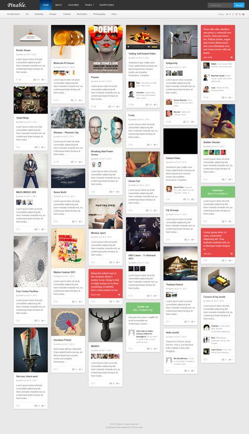 Pinable WordPress Theme
