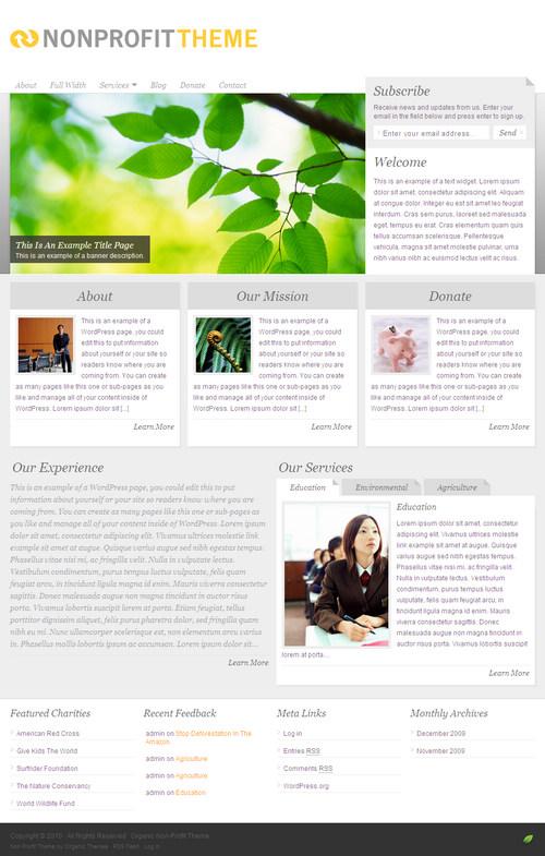 Organic Nonprofit 2.0 WordPress Theme