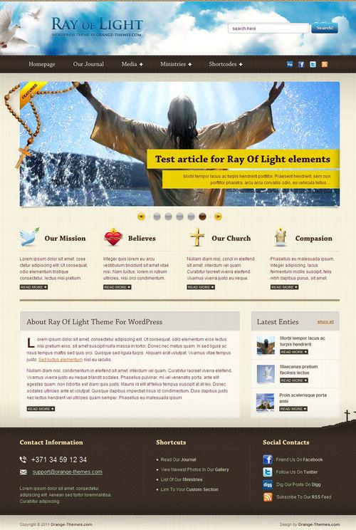 Ray Of Light Church WordPress Theme