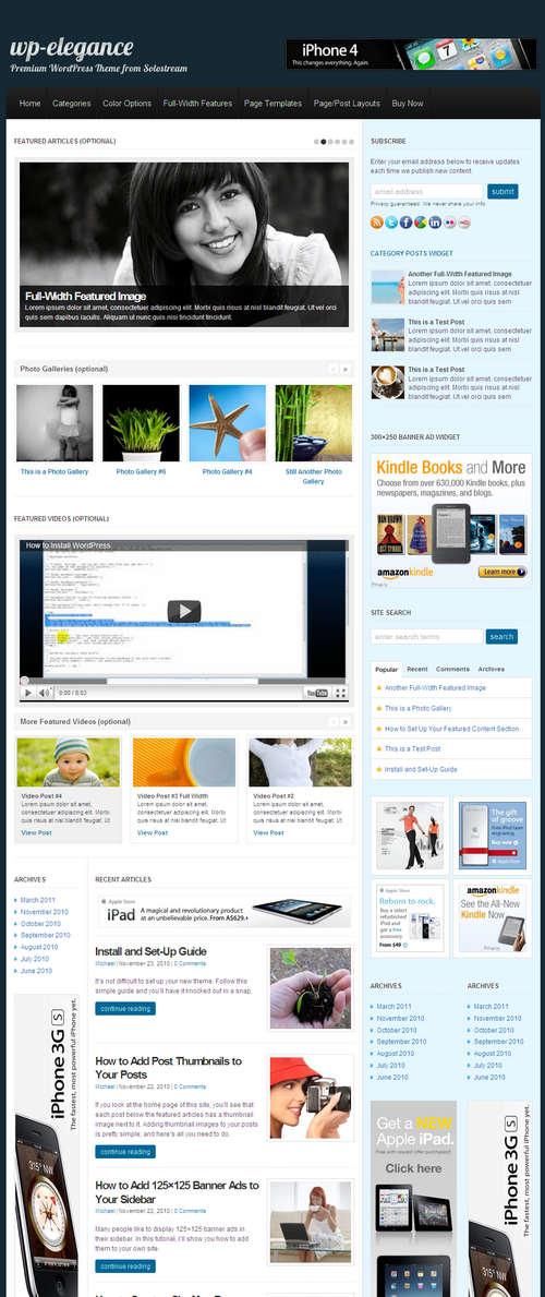 Solostream WP-Elegance WordPress Theme