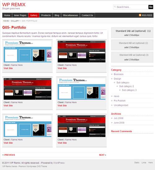 WPRemix Galley Portfolio Layout