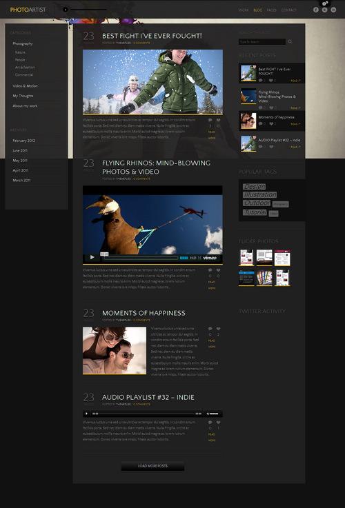 PhotoArtist Theme Blog Layout