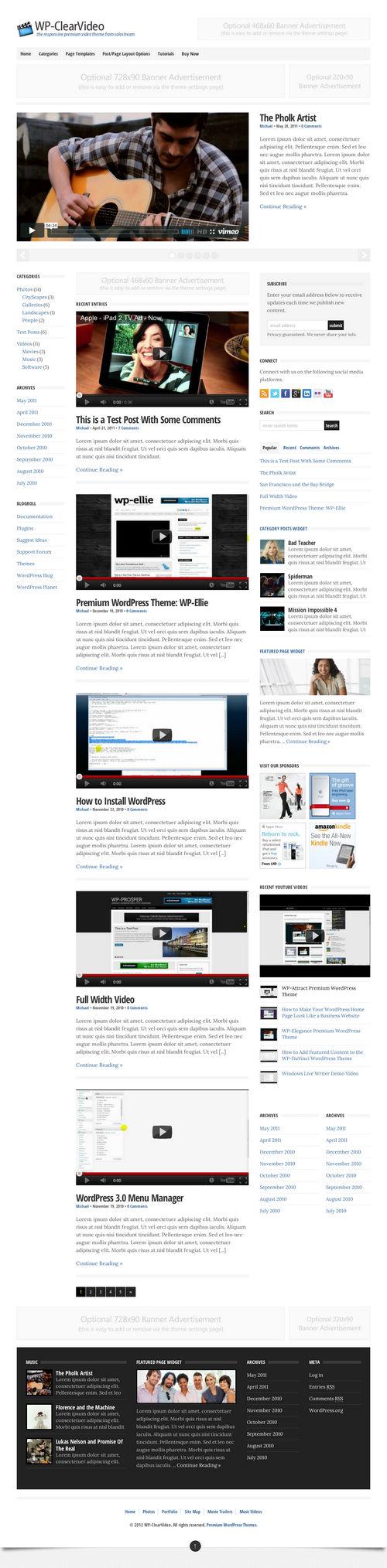 WP-ClearVideo WordPress Theme