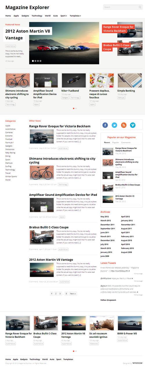 Magazine Explorer WordPress Theme