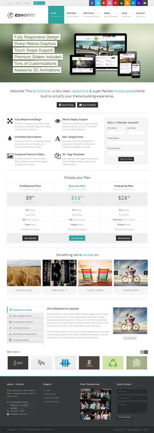 CoWorker WordPress Theme